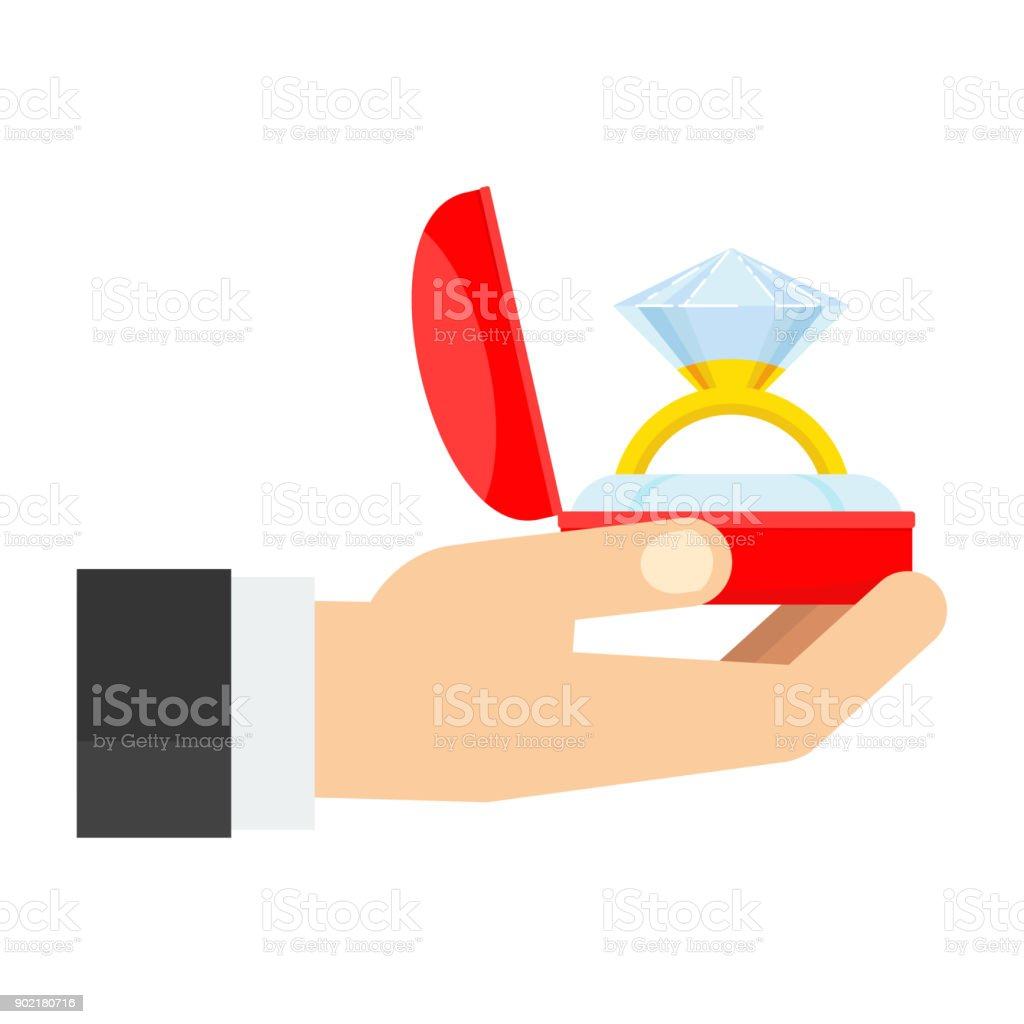 Flat vector gift box with gold wedding ring vector art illustration