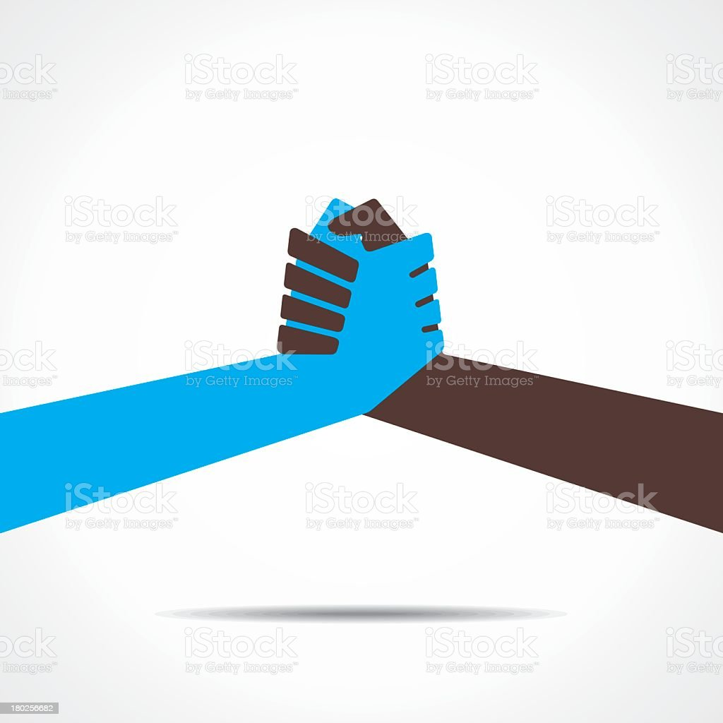 Flat vector graphic of 2 differently colored hands grasping vector art illustration