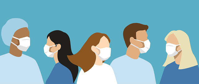 Flat vector group of doctors and nurses with protective masks and uniforms