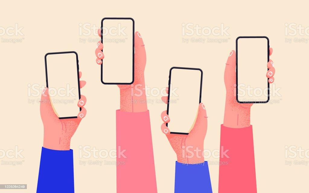 平向量手與手機。手拿著有空屏的手機類比。社交媒體互動。移動應用上的社交網路通信。家庭辦公室與您的手機。輕鬆在線購買。 - 免版稅付錢圖庫向量圖形