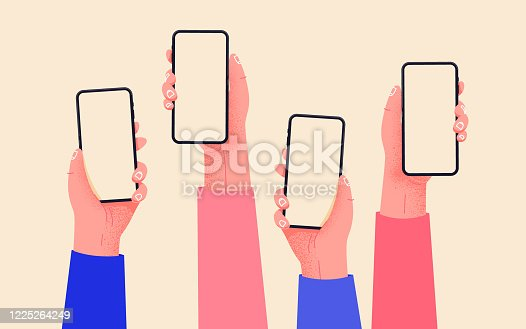 istock Flat vector hands with phones. Hands holding phones with empty screens mock up. Social media interaction. Social network communication on mobile app. Home office with your phone. Buy online easily. 1225264249