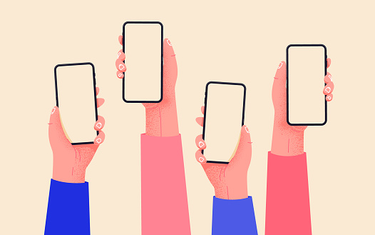 Flat vector hands with phones. Hands holding phones with empty screens mock up. Social media interaction. Social network communication on mobile app. Home office with your phone. Buy online easily.