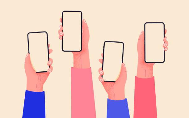 плоский вектор руки с телефонами. руки, держащие телефоны с пустыми экранами макет. взаимодействие в социальных сетях. связь в социальных с� - phone hand stock illustrations