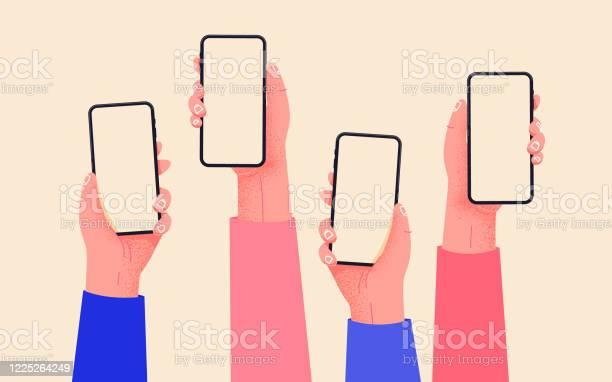 平向量手與手機手拿著有空屏的手機類比社交媒體互動移動應用上的社交網路通信家庭辦公室與您的手機輕鬆在線購買向量圖形及更多付錢圖片