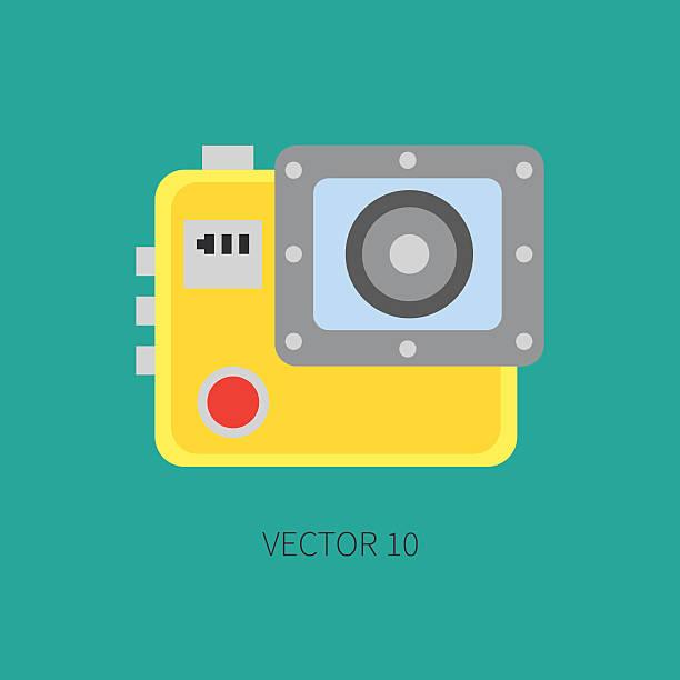 stockillustraties, clipart, cartoons en iconen met flat vector icon digital action camera. photography. megapixel. creativity. oeuvre. - gopro
