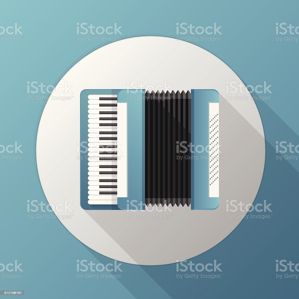Flat vector icono para azul acordeón - ilustración de arte vectorial