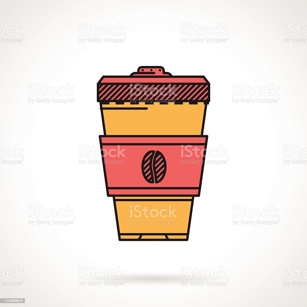 Flat vector icon for coffee cup vector art illustration