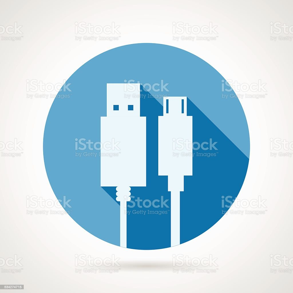 Flat vector icon for USB cable vector art illustration