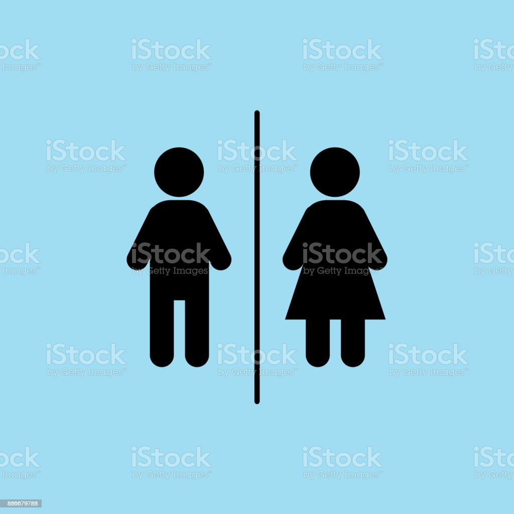Flat vector: icon of a man and a woman on a blue background. Isolated toilet sign. Black figures. vector art illustration