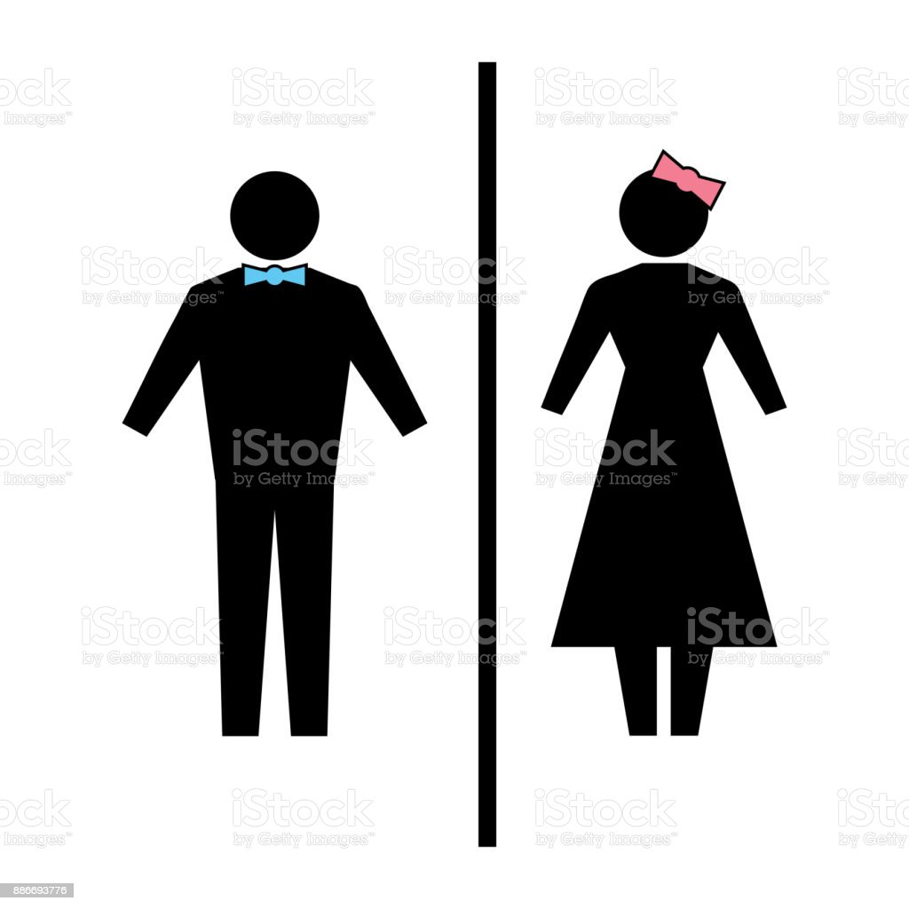 Flat vector: icon of a man and a woman on a white background. Isolated toilet sign. Black figures. A simple geometric contour. vector art illustration