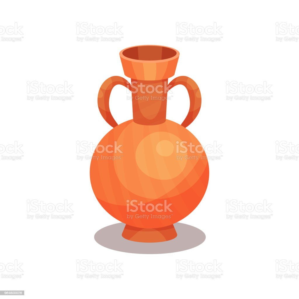 Flat vector icon of ancient amphora with two handles and narrow neck. Tall ceramic jug for wine. Old Greek or Roman vase royalty-free flat vector icon of ancient amphora with two handles and narrow neck tall ceramic jug for wine old greek or roman vase stock vector art & more images of cartoon