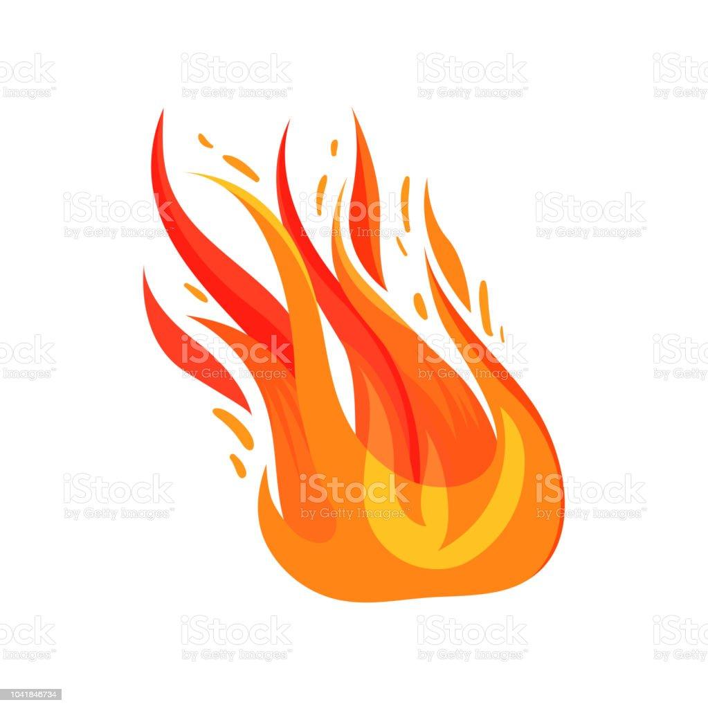 Flat Vector Icon Of Blazing Fire Bright Redorange Flame Symbol Of