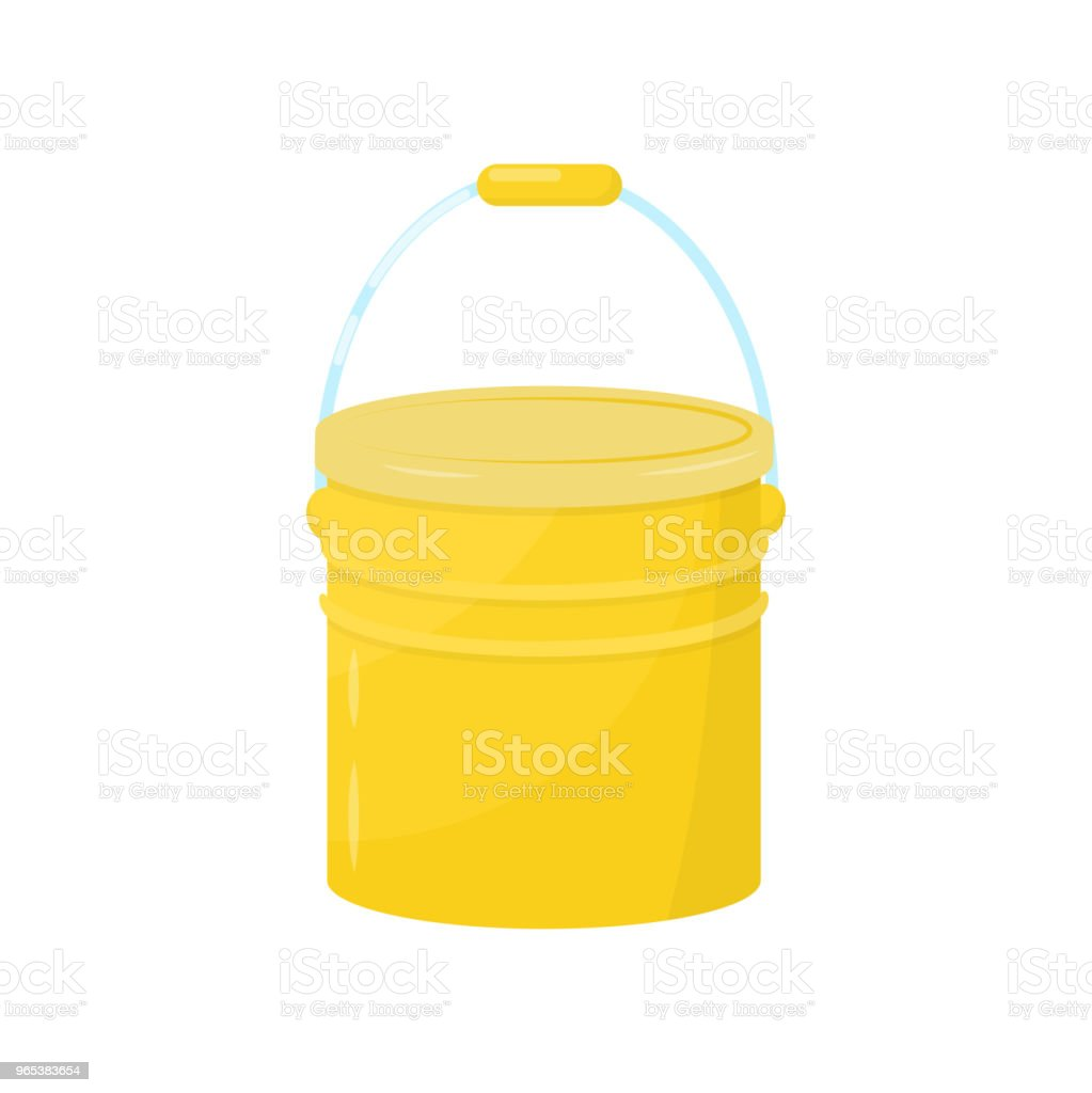 Flat vector icon of bright yellow metal bucket. Small water pail with lid and handle. Element for advertising flyer of cleaning company royalty-free flat vector icon of bright yellow metal bucket small water pail with lid and handle element for advertising flyer of cleaning company stock vector art & more images of cartoon