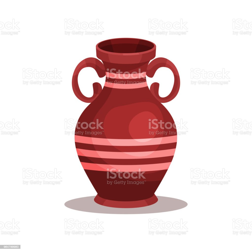 Flat vector icon of brown ancient Greek or Roman amphora. Tall ceramic jug with stripes, two handles and narrow neck royalty-free flat vector icon of brown ancient greek or roman amphora tall ceramic jug with stripes two handles and narrow neck stock vector art & more images of cartoon