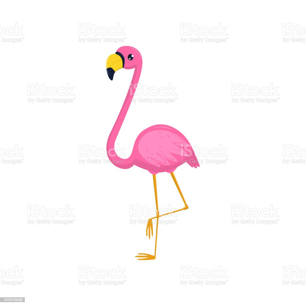 Flat Vector Icon Of Flamingo Tropical Bird With Pink Plumage And ...