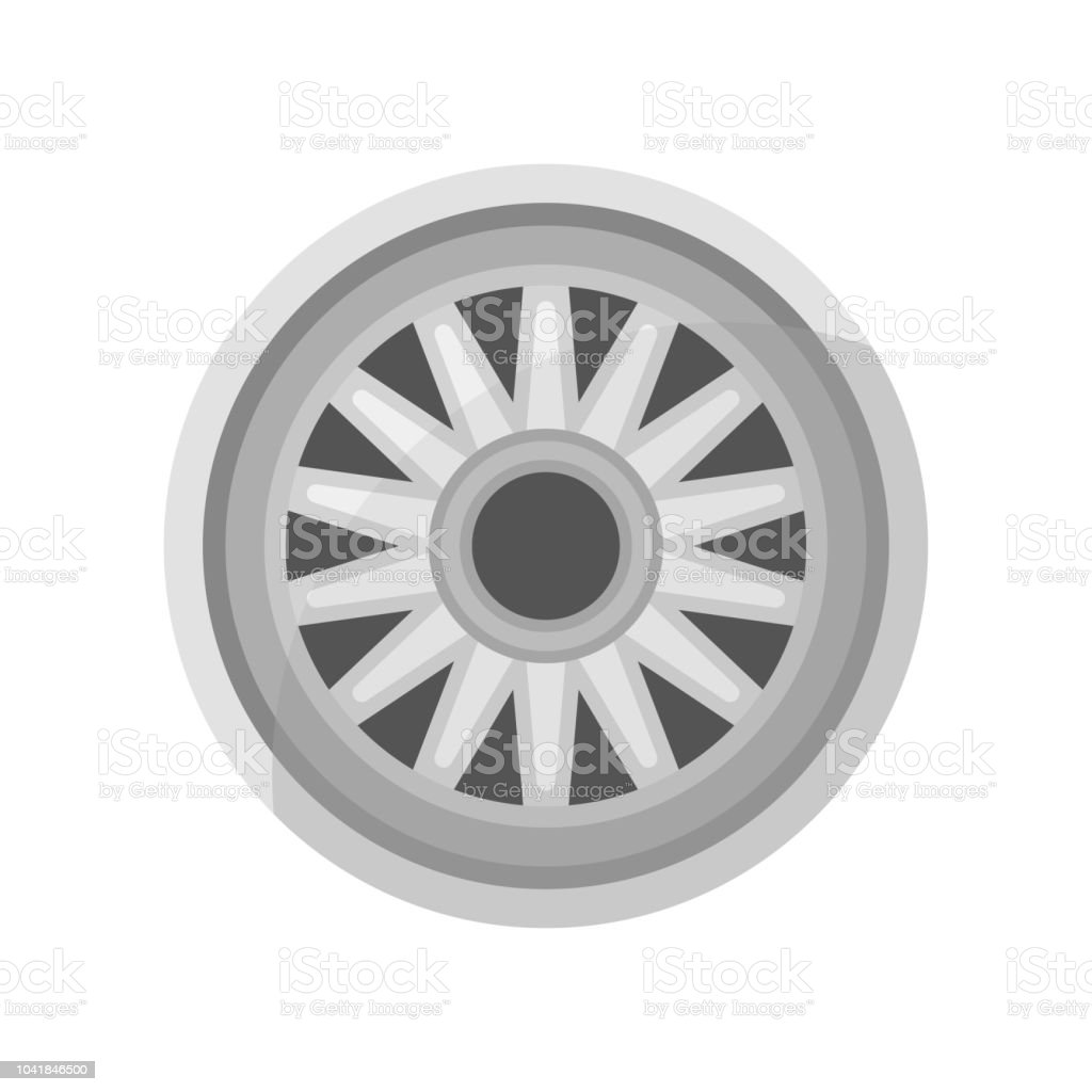 Flat vector icon of gray car disk. Alloy wheel of automobile. Auto parts theme. Element for advertising flyer or poster of store vector art illustration