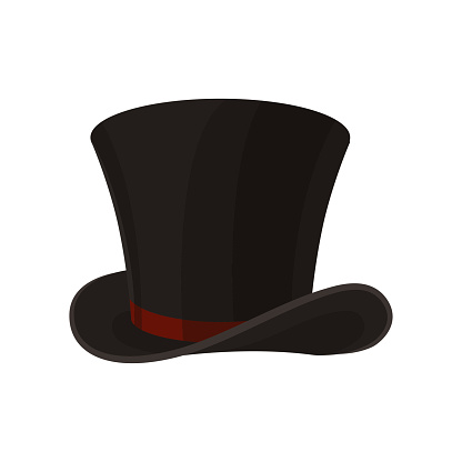 Flat vector icon of male cylinder top hat. Broad-brimmed black hat with red ribbon. Stylish men accessory