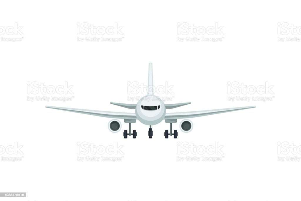 Flat Vector Icon Of Passenger Airplane Front View Air