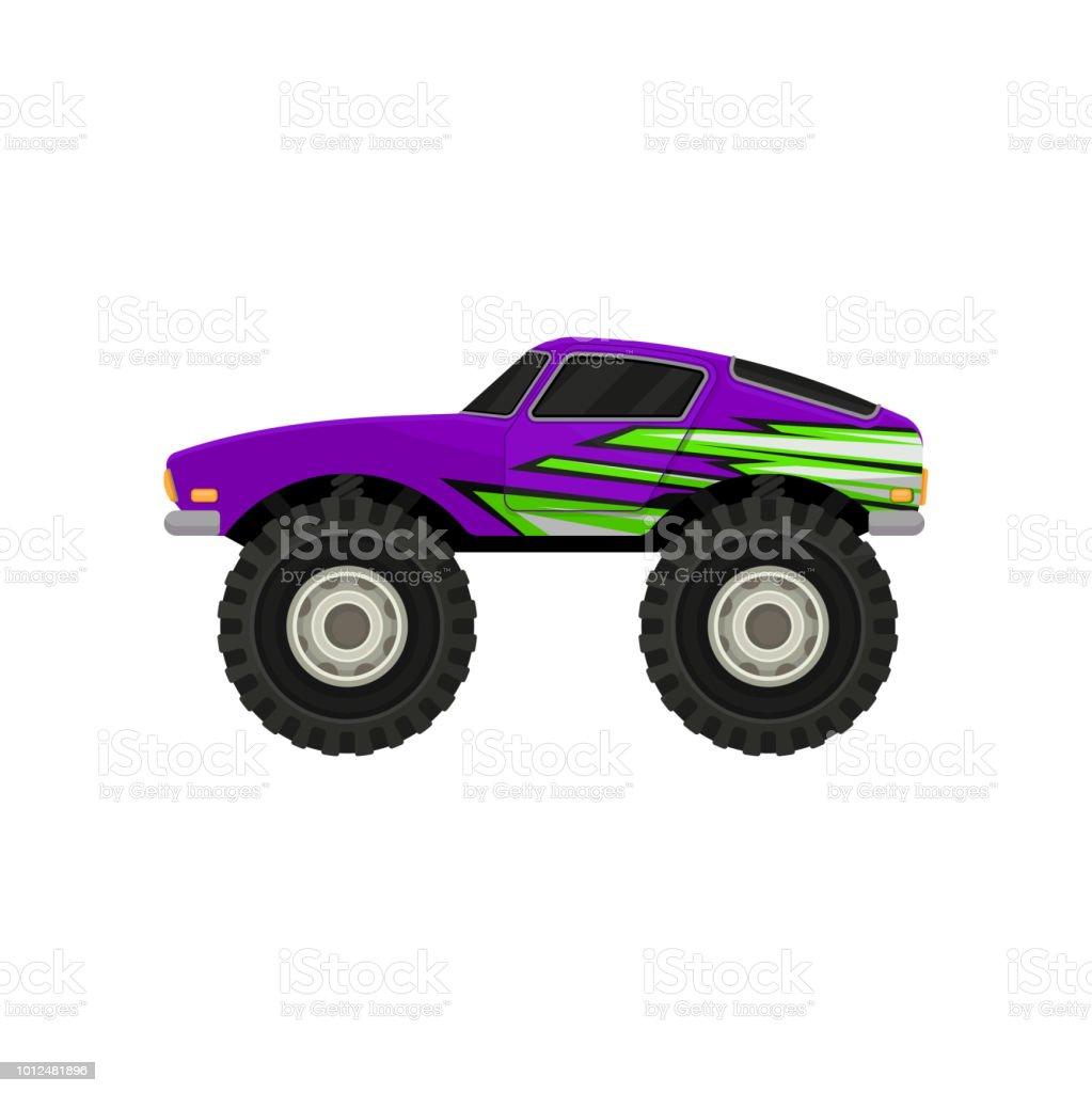Icône Plate Vecteur De Purple Monster Truck Icône De Dessin Animé De