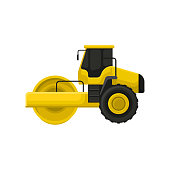 Icon of yellow road roller. Engineering motor vehicle with heavy roller. Machine used to compact soil, gravel, concrete or asphalt. Colorful flat vector illustration isolated on white background.