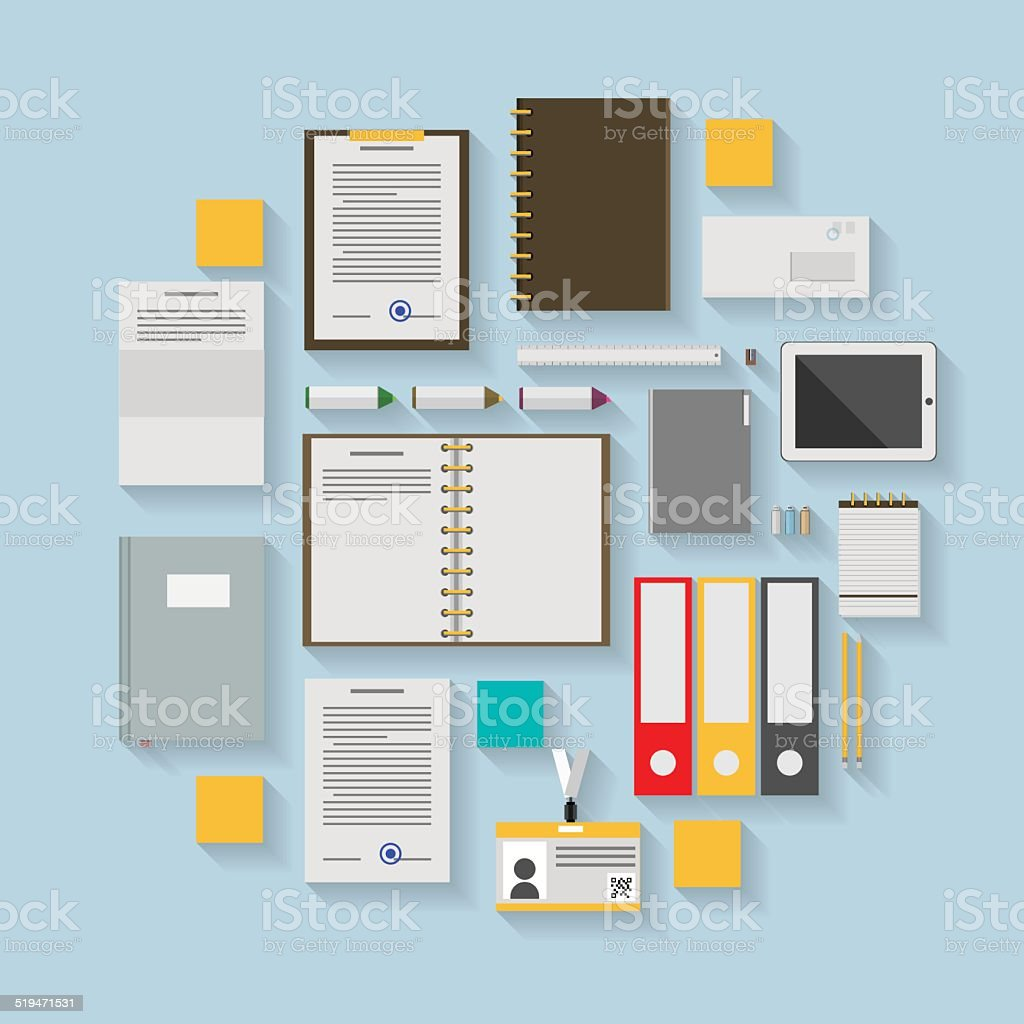 Flat vector icons for business workflow vector art illustration
