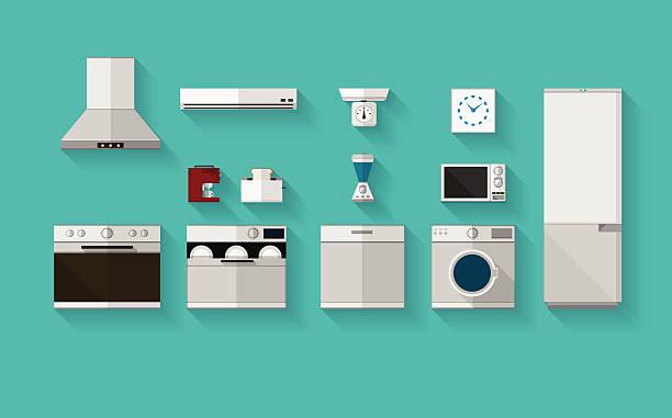 flache vektor-icons für küchengeräten - gewerbliche küche stock-grafiken, -clipart, -cartoons und -symbole