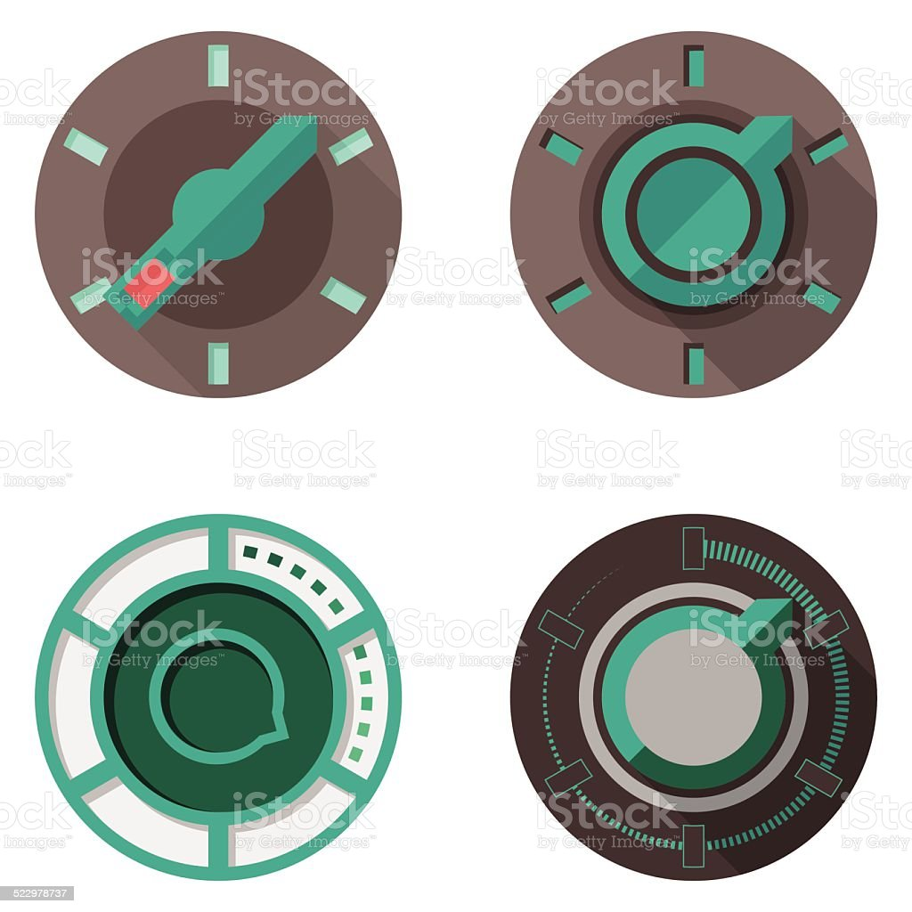 Flat vector icons for tumbler switches vector art illustration