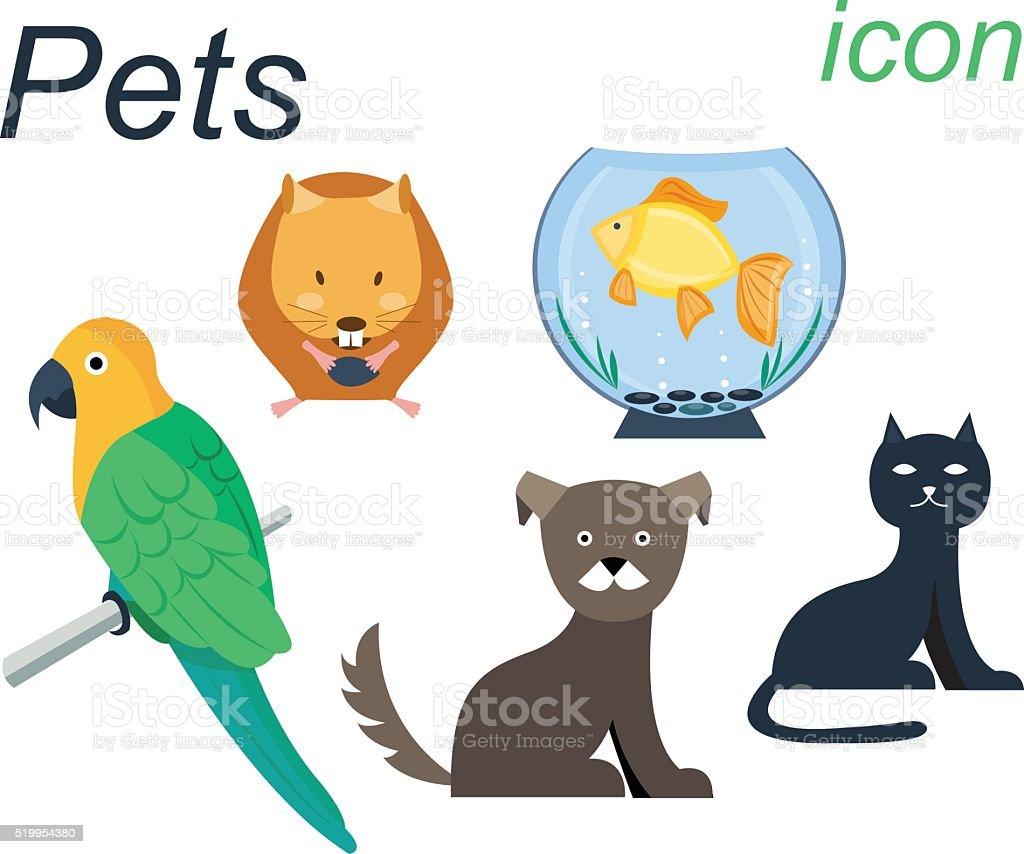ベクトルフラットアイコンの飼育動物 のイラスト素材 519954380 | istock
