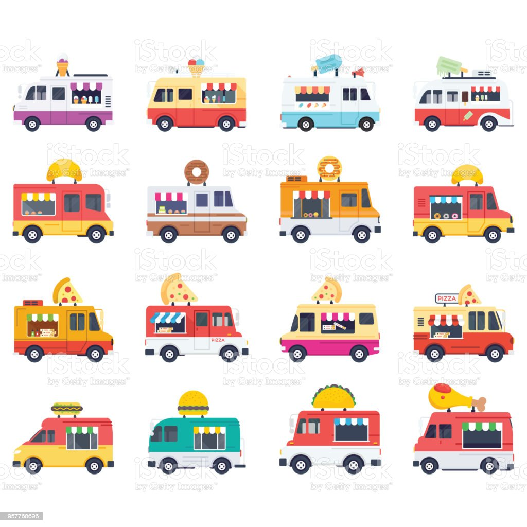 Flat Vector Icons Pack Of Food Vans vector art illustration