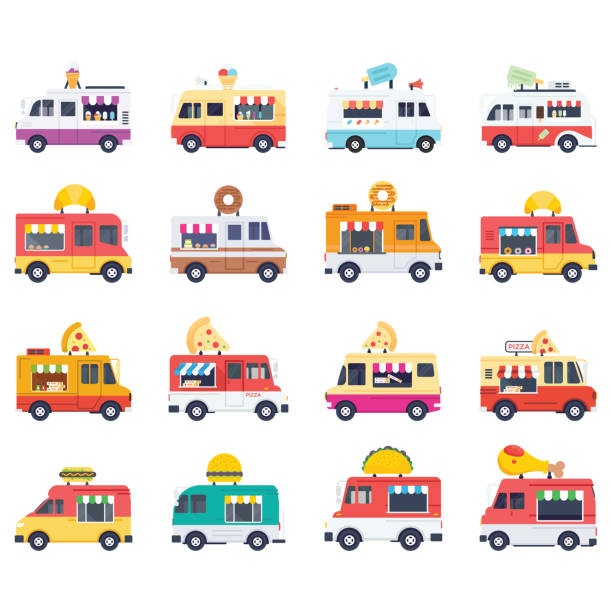 Flat Vector Icons Pack Of Food Vans These vector icons represent truck food, street food and fast food on wheels which make this pack an awesome and unique addition in flat icons collection. This pack features food vans of desserts, savory item, fast food and many more. food festival stock illustrations