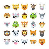 Flat Vector Icons Set of Wildlife Animals