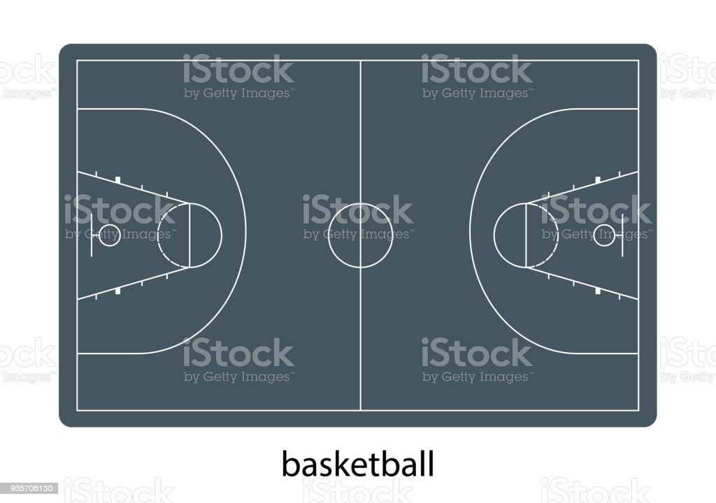 Flat vector illustration basketball field view from above vector art illustration