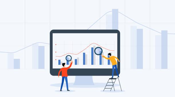 Flach-Vektorveranschaulichung Geschäftsleute analytics und Monitoring Investment and Finance Report Grafik über Monitorkonzept – Vektorgrafik