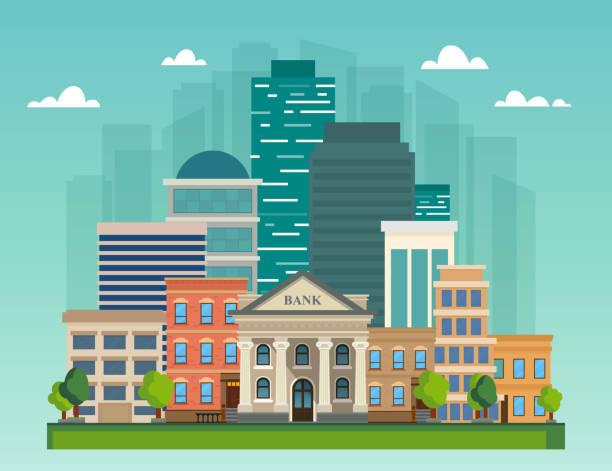 ilustrações, clipart, desenhos animados e ícones de paisagem urbana de ilustração vetorial plana. edifícios de escritórios do city skyline, banco e casas de família. - banco edifício financeiro