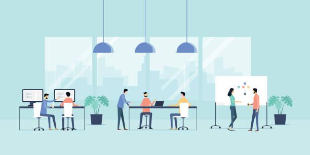 flache Vektor Illustration Fraktionssitzung Business Team und Zusammenarbeit im Büro Arbeitsplatzkonzept arbeiten – Vektorgrafik