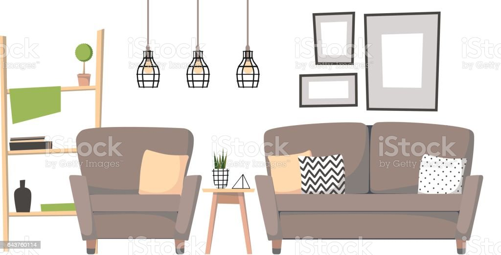 Flat vector illustration - Home interior design. Cozy living room with sofa, table, stairs and paintings. Stylish apartments in retro style. vector art illustration