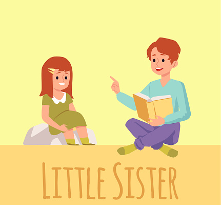 Flat vector illustration of a brother reading a book to his little sister