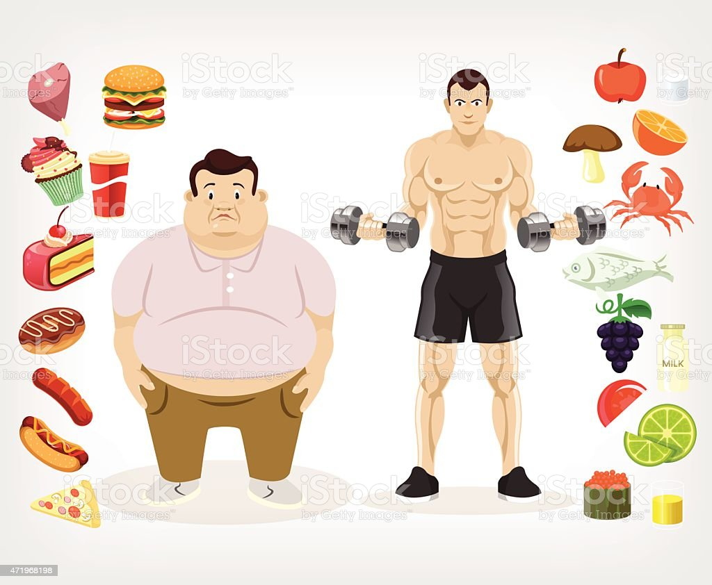 A flat vector illustration of a diet and its affect vector art illustration