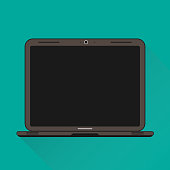 Flat Vector Illustration Of A Laptop