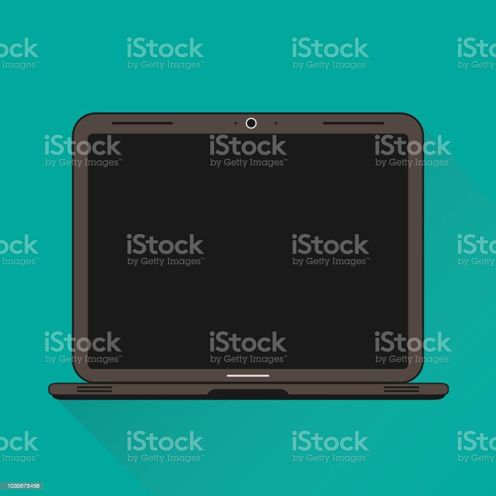 Flat Vector Illustration Of A Laptop vector art illustration