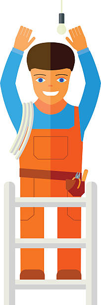 flat vector illustration of a man who repairs lighting. - electrical wiring home stock illustrations, clip art, cartoons, & icons