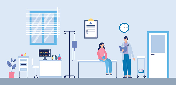 Flat vector illustration of a medical examination of a patient in an outpatient office.