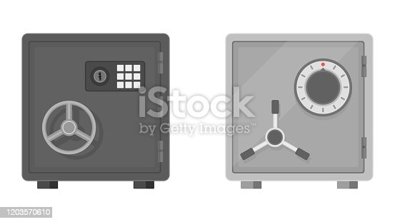 Flat vector illustration of a safe icon front view on white background. Safe for money with combination and mechanical lock. Equipment for the safe storage of money. Protection, guarantee of bank deposits.