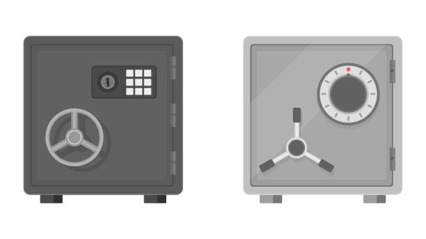 Flat vector illustration of a safe front view on white background. Flat vector illustration of a safe icon front view on white background. Safe for money with combination and mechanical lock. Equipment for the safe storage of money. Protection, guarantee of bank deposits. safes and vaults stock illustrations