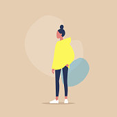 Flat vector illustration of a young female character keeping her hand in pocket, casual look, millennial lifestyle