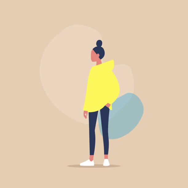 bildbanksillustrationer, clip art samt tecknat material och ikoner med platt vektor illustration av en ung kvinnlig karaktär att hålla sin hand i fickan, casual look, tusenåriga livsstil - unga kvinnor