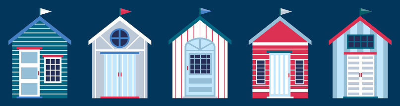 Flat vector illustration of colorful beach huts in row isolated on dark blue background. Concept of summer vacation in surfhouse. Beach cabins with flags