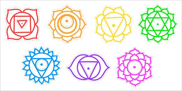Flat vector illustration of cute cartoon chakra set. Yantras, yoga.