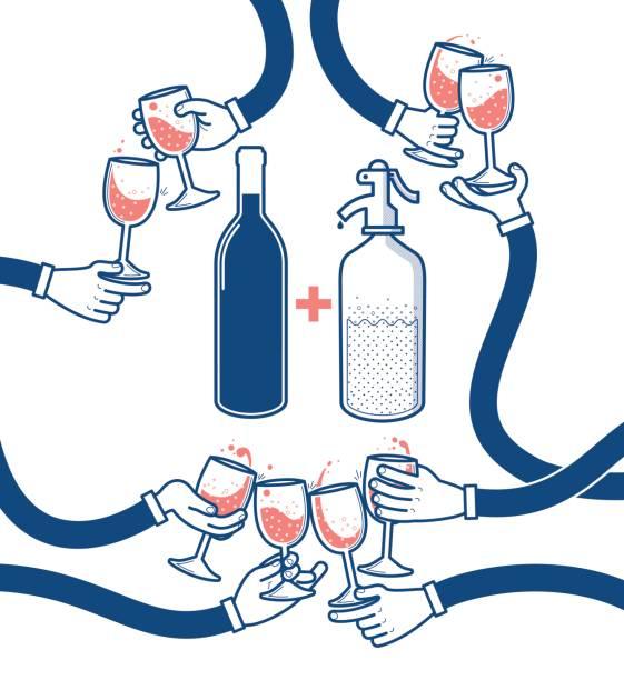 bildbanksillustrationer, clip art samt tecknat material och ikoner med flat vektorillustration av att dricka vin och läsk, skål, spottar glasögon, part - vin sommar fest
