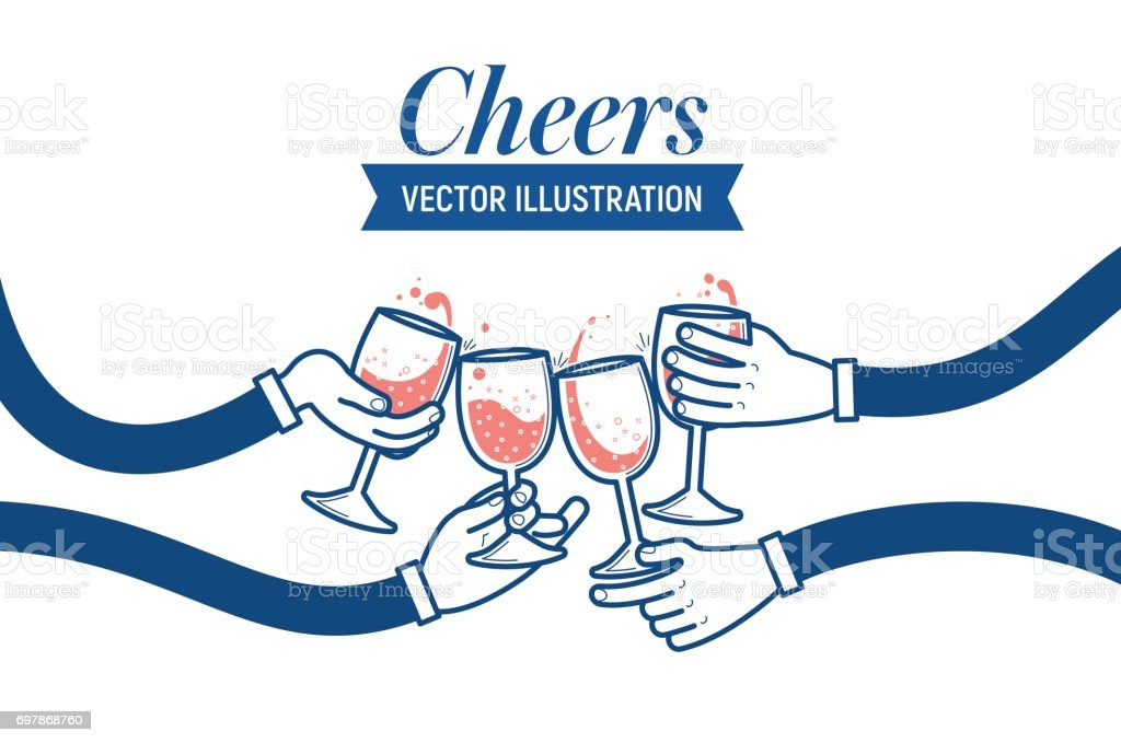 Flat vector illustration of drinking wine and soda water, cheers, clinking glasses, party, four hands. Drink with friends. vector art illustration